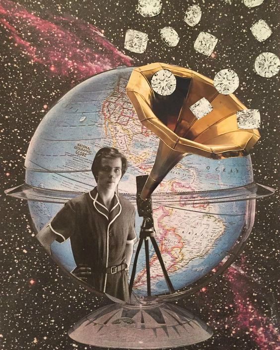 A man in outer space with the earth behind him and a record player.