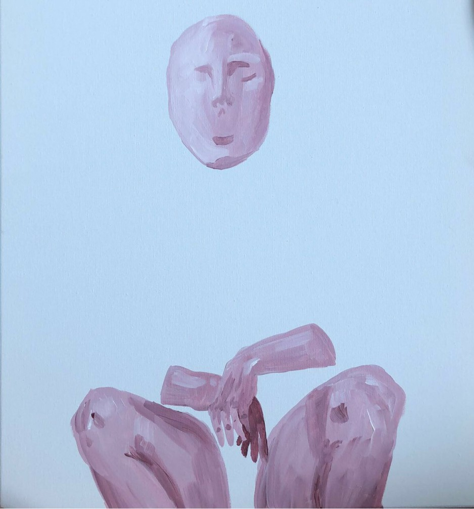 A painting of a person with and invisible torso squating down.