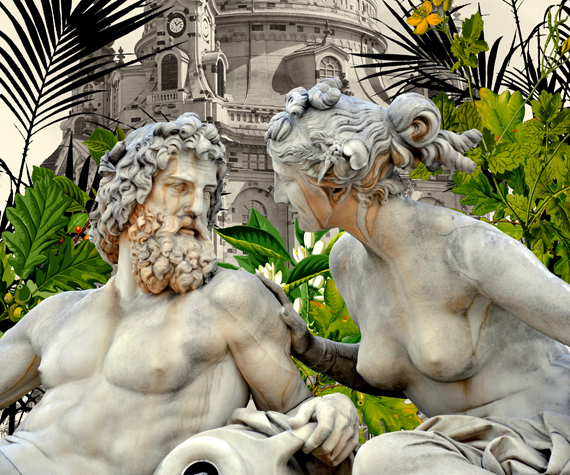 A collage of two statues, a man and woman, talking to each other.