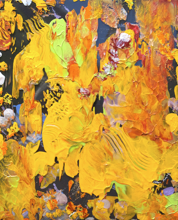 An brightly colored abstract painting featuring shared of yellow and orange.