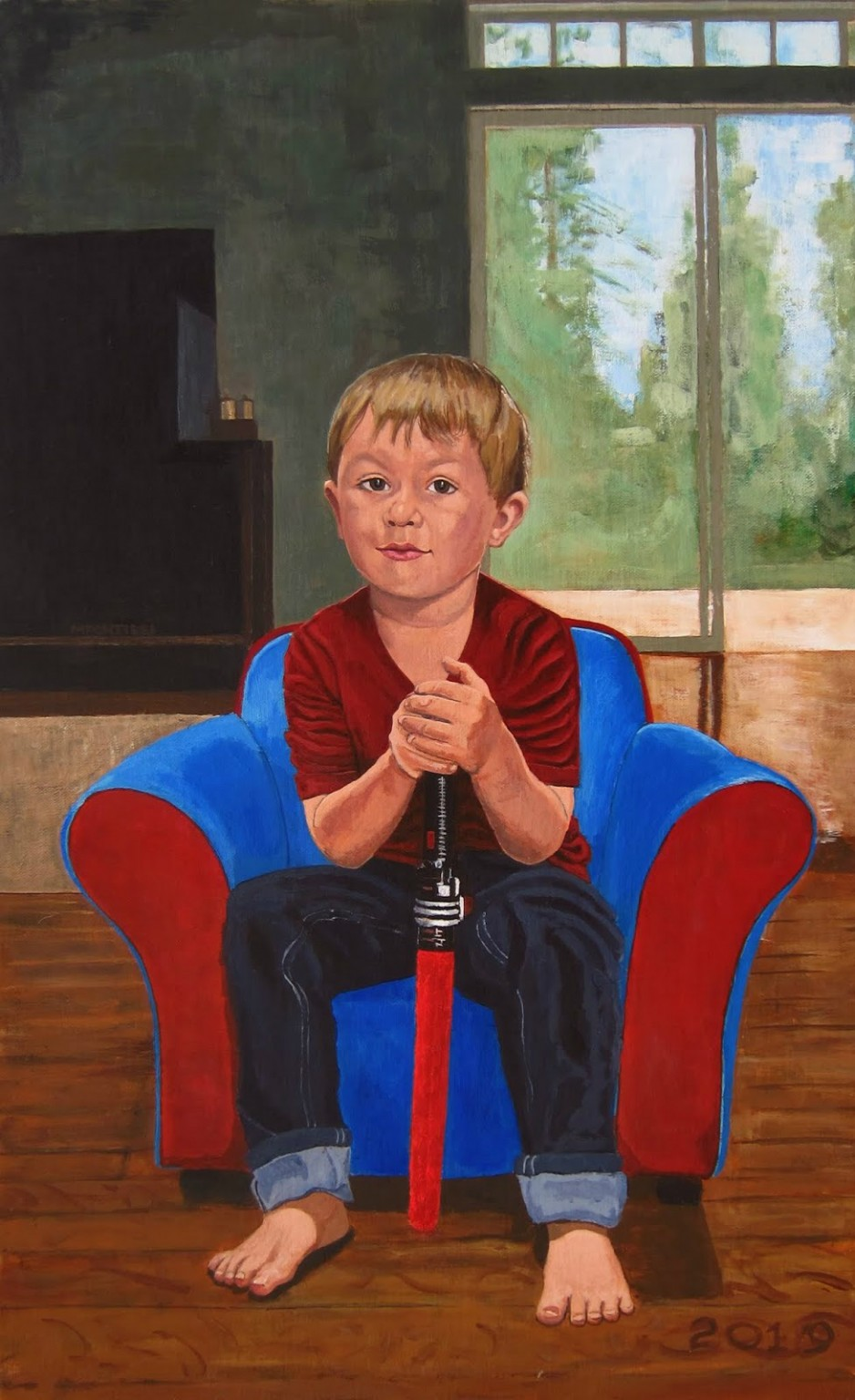 A painting of a young boy sitting in a chair, holding a lightsaber toy.