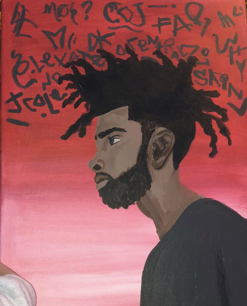 A red and black painting with a man's profile and a bunch of symbols above his head.