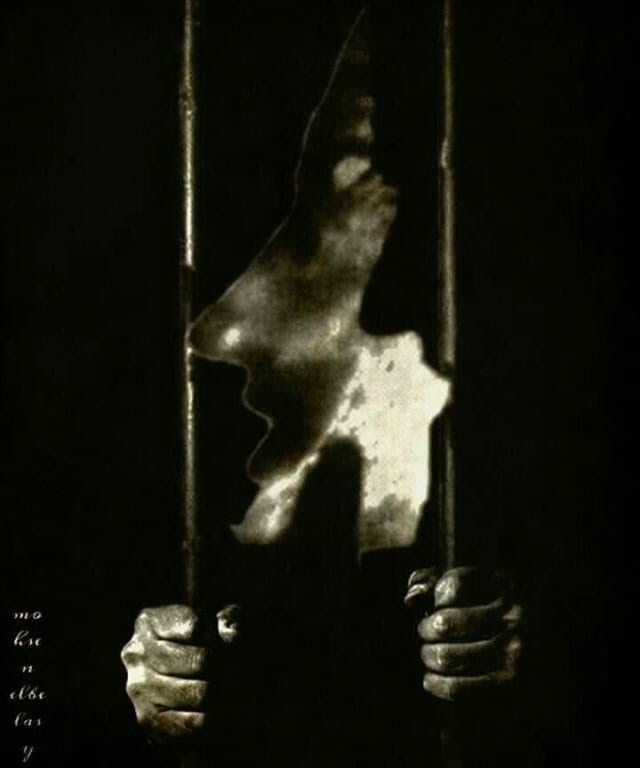 An abstract depiction of a person clasping two bars, as if in prison.