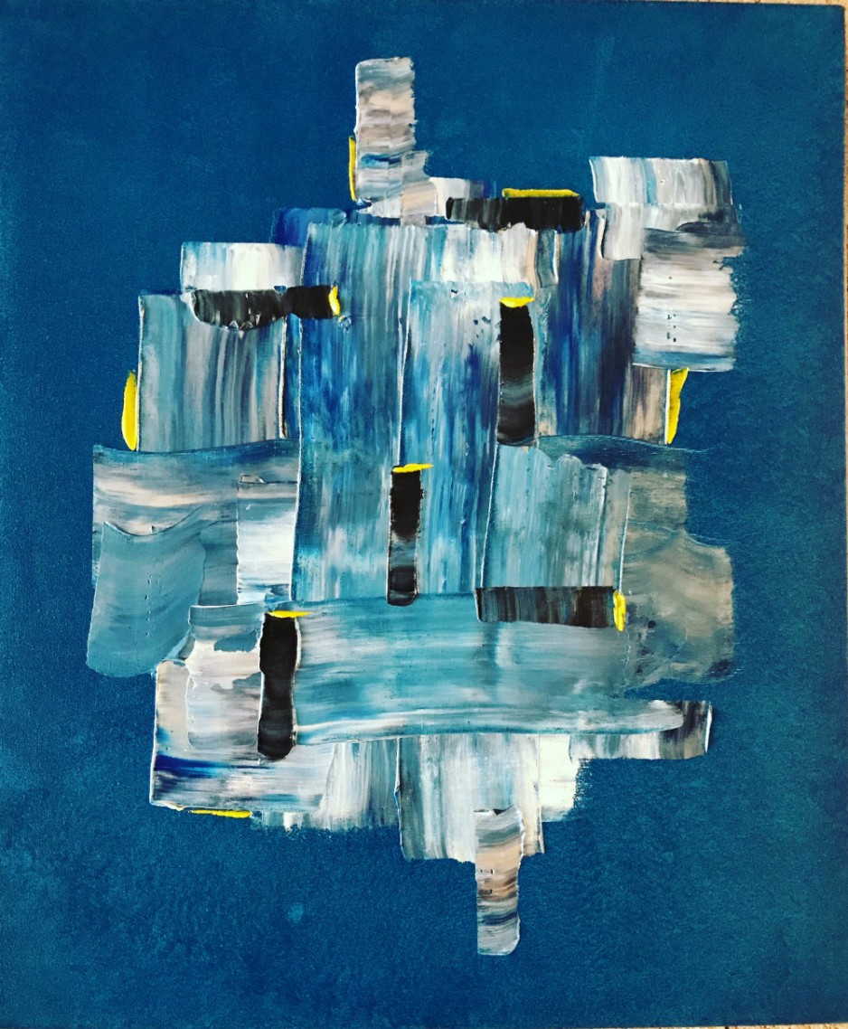 An abstract painting with various shades of blue.