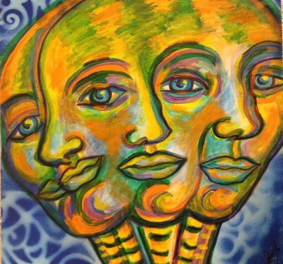 An abstract painting of three identical faces fused together - life past, present, future.