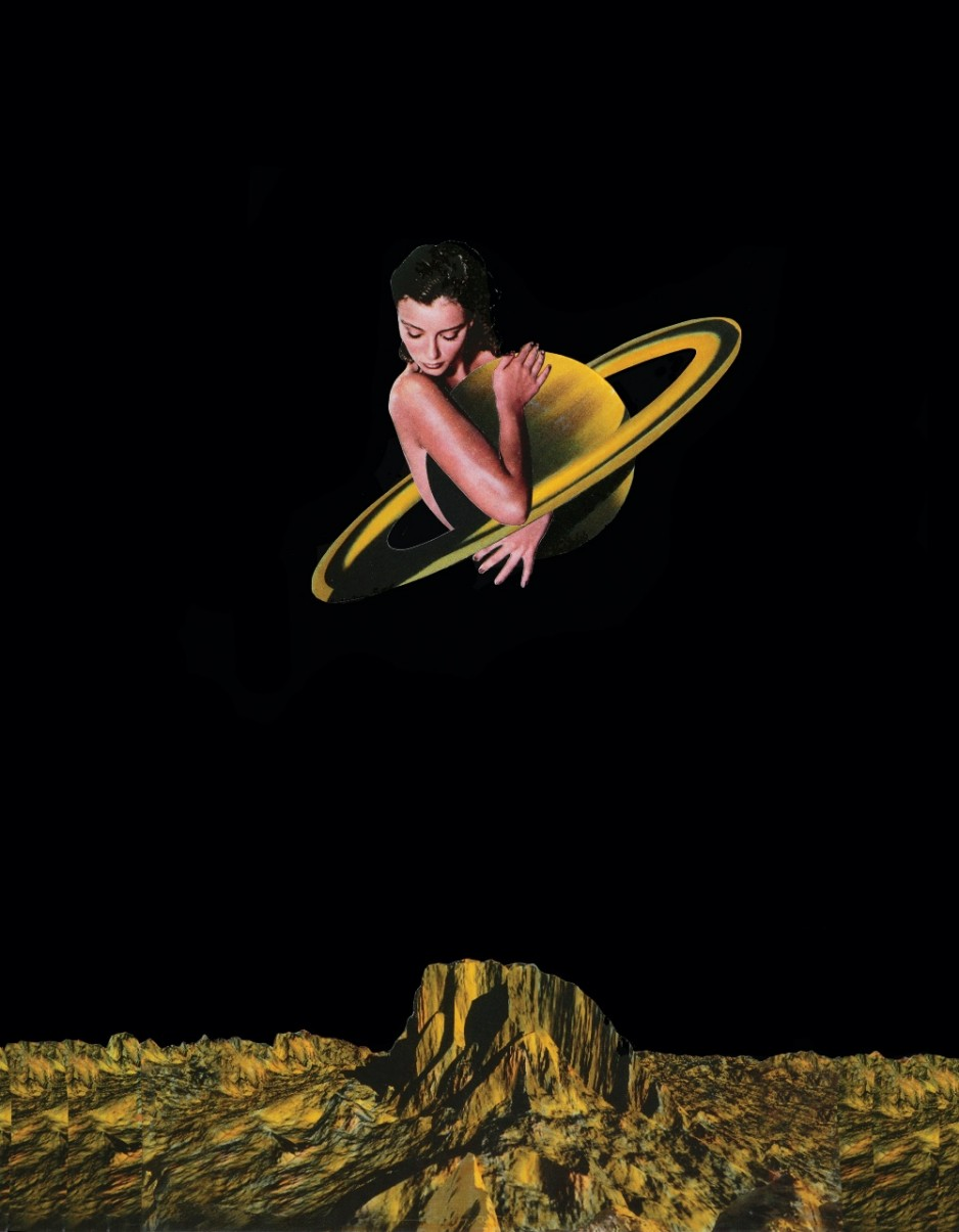 An abstract collage showing a woman in space craddling a gold planet.