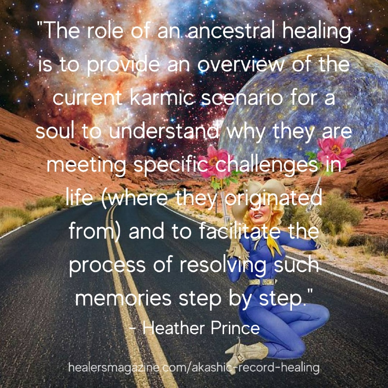"""Meme: """"The role of an ancestral healing is to provide an overview of the current karmic scenario for a soul to understand why they are meeting specific challenges in life (where they originated from) and to facilitate the process of resolving such memories step by step."""""""