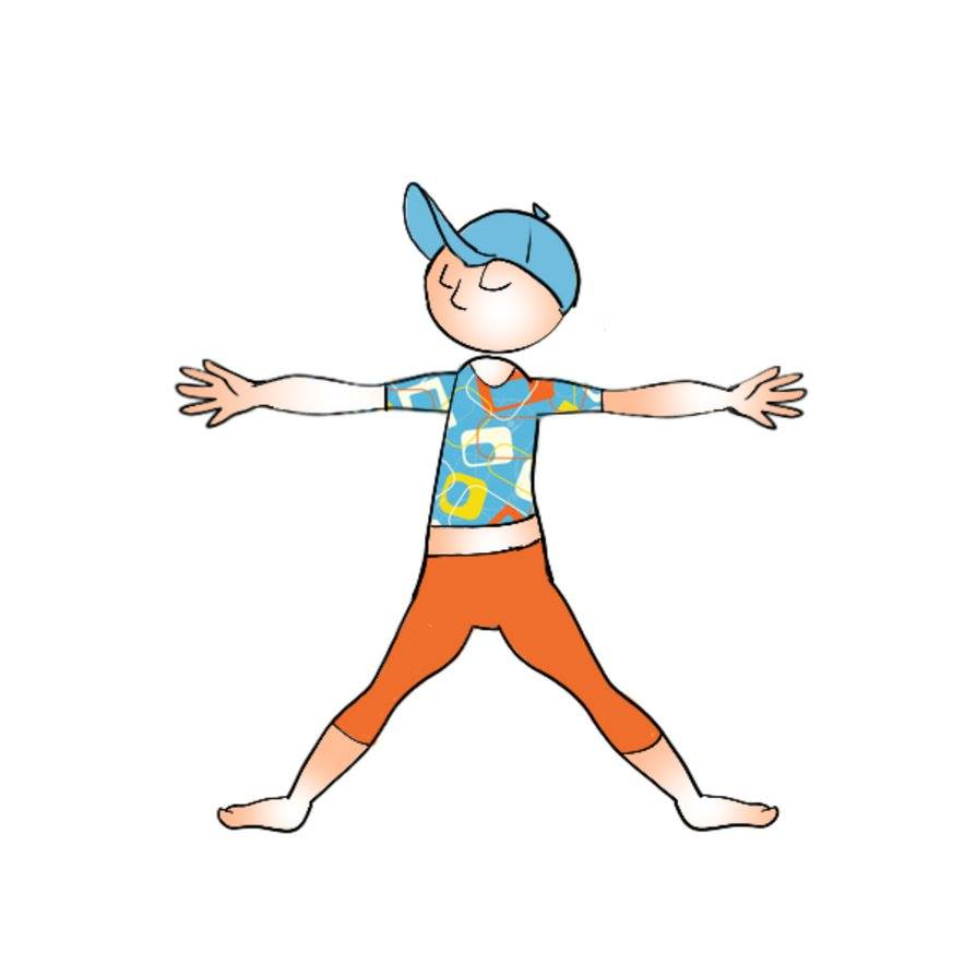 A drawing of a young man doing yoga.