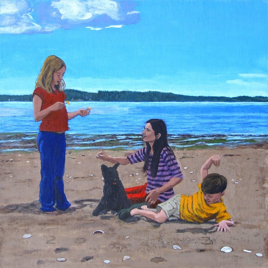 Three kids and a dog playing on a beach.