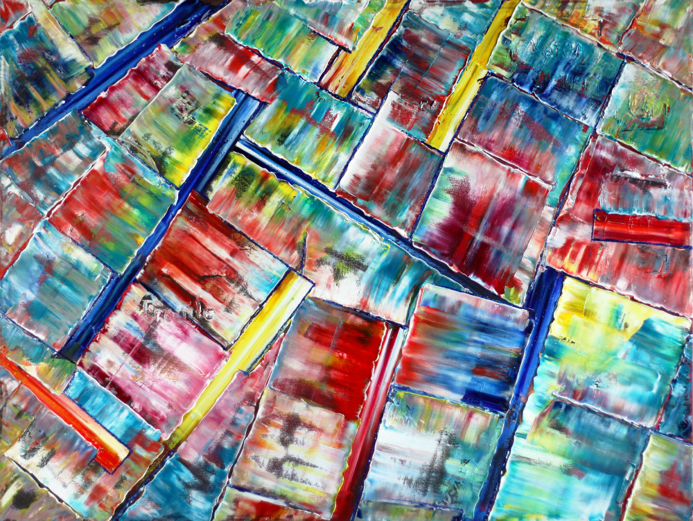 An abstract painting with diagonally allgined, brightly colored, boxes.