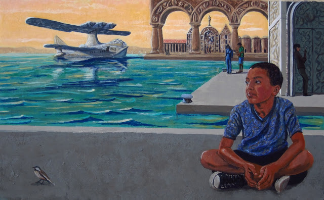 A painting of a boy and bird by the water.