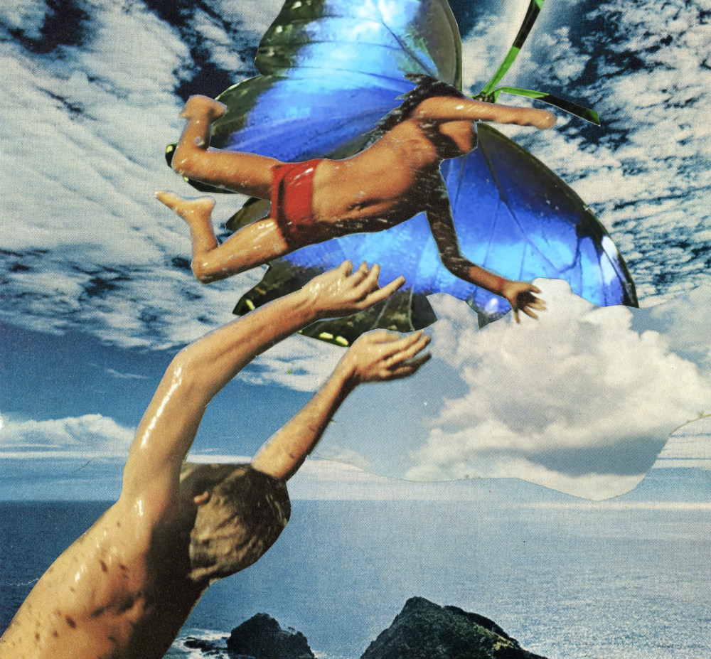 A painting featuring a boy lifting his arms toward another boy who is flying and has blue, butterfly wings