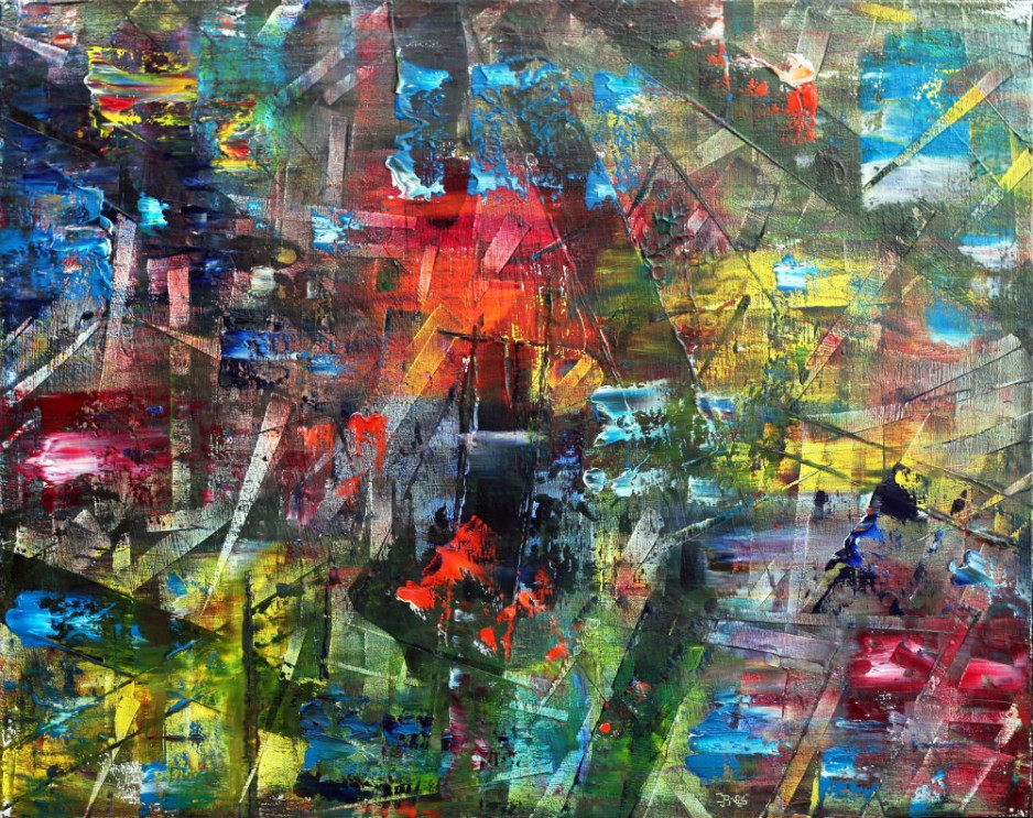 An abstract painting with a mix of bright and dark colors.