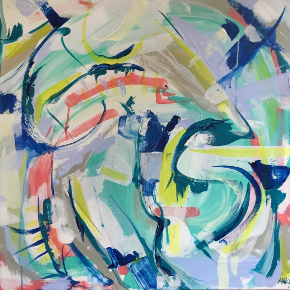 An abstract painting with swirls of blue, orange, yellow and white.