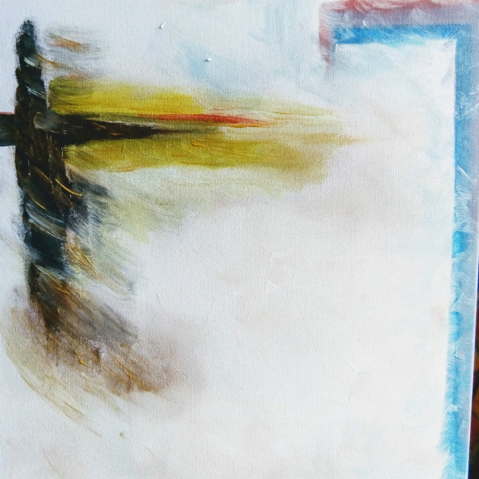 An abstact painting of white, red, black, yello and blue colors.