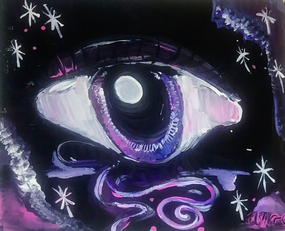 A purple eye on a dark background.