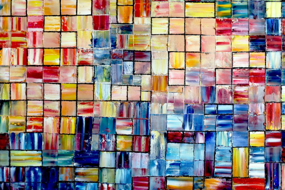 An abstract mosaic of many different shades of pastel colors.