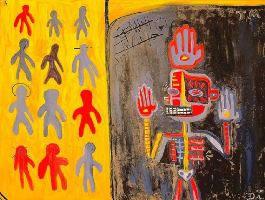A tribal-esque painting of a skeletal man looking at figure of other people on the wall.