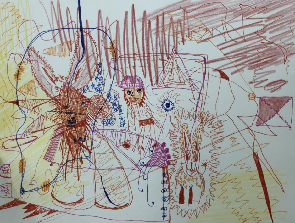 A crayon and pen drawing of a girl and two rabbits and a lot of chaotic scribbles.