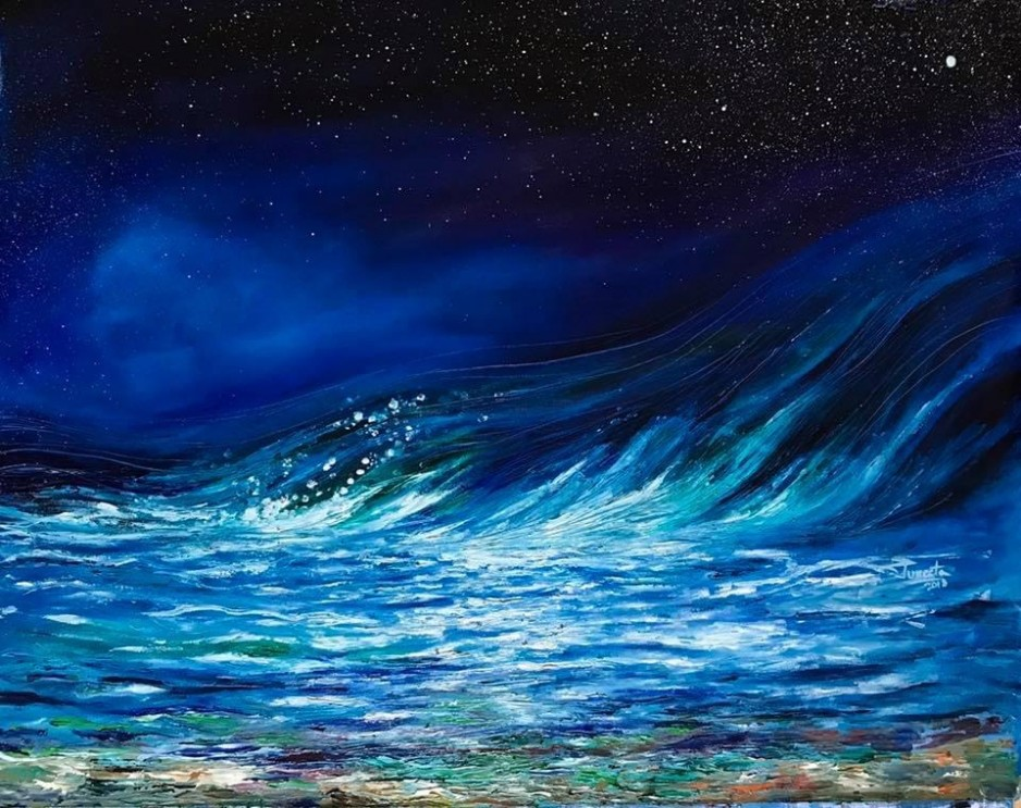 A dark ocean painting of a giant wave.