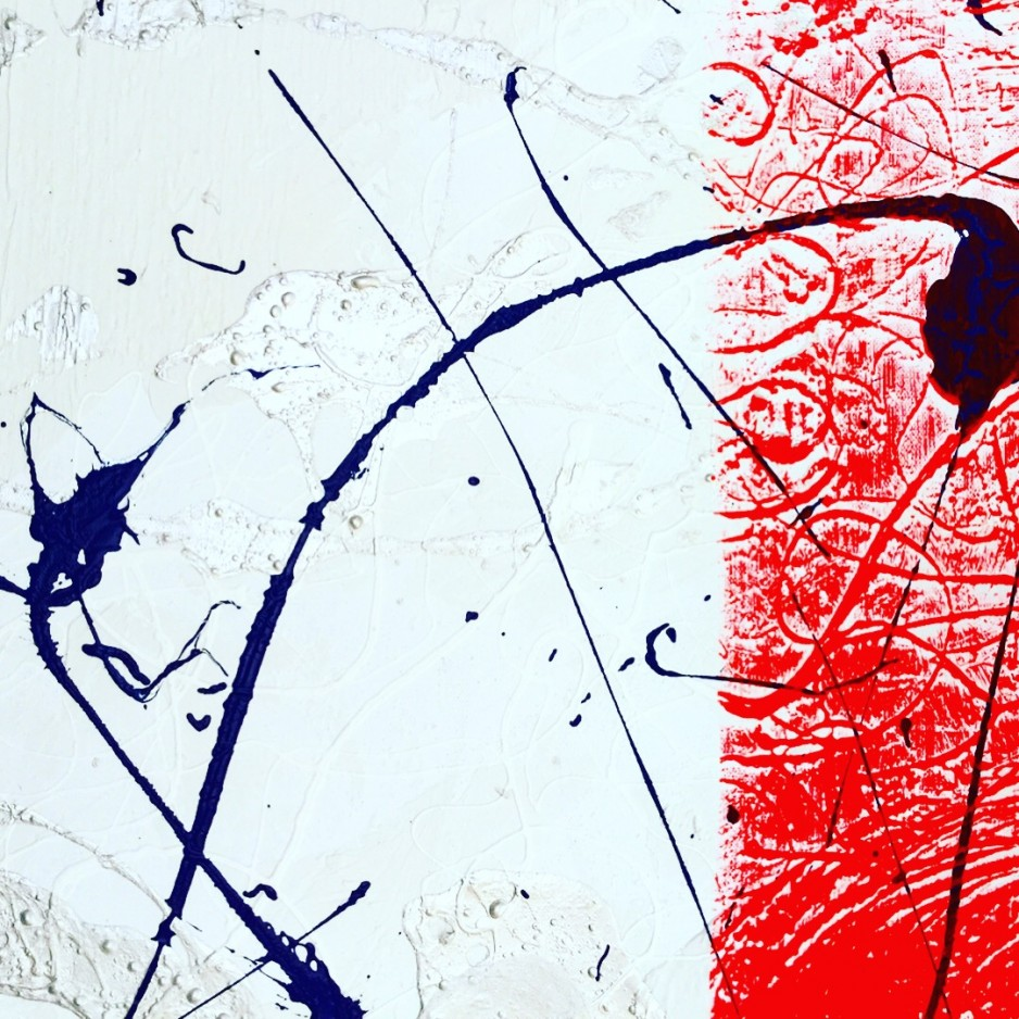 An abstract painitng with a white background, a red vertical stripe and dark blue traces of paint dropped onto the canvas that could represent writing.