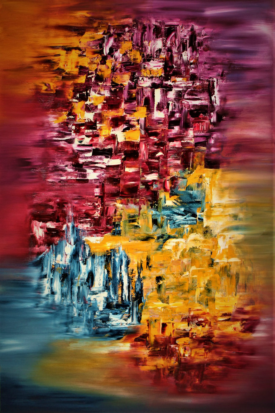 An abstract painting blurry on the borders, vivid yellows, reds, blues mix in the middle.