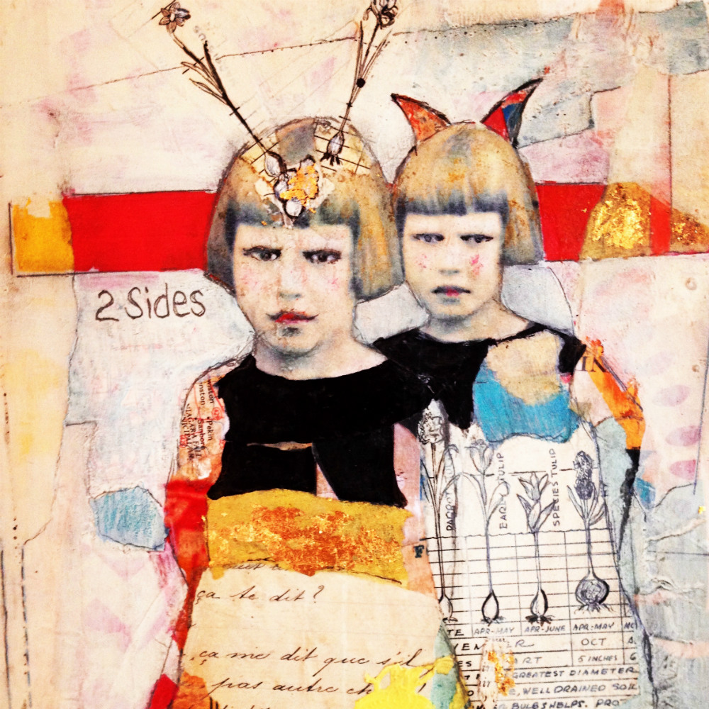 A bright painting of two nearly identifical girls.
