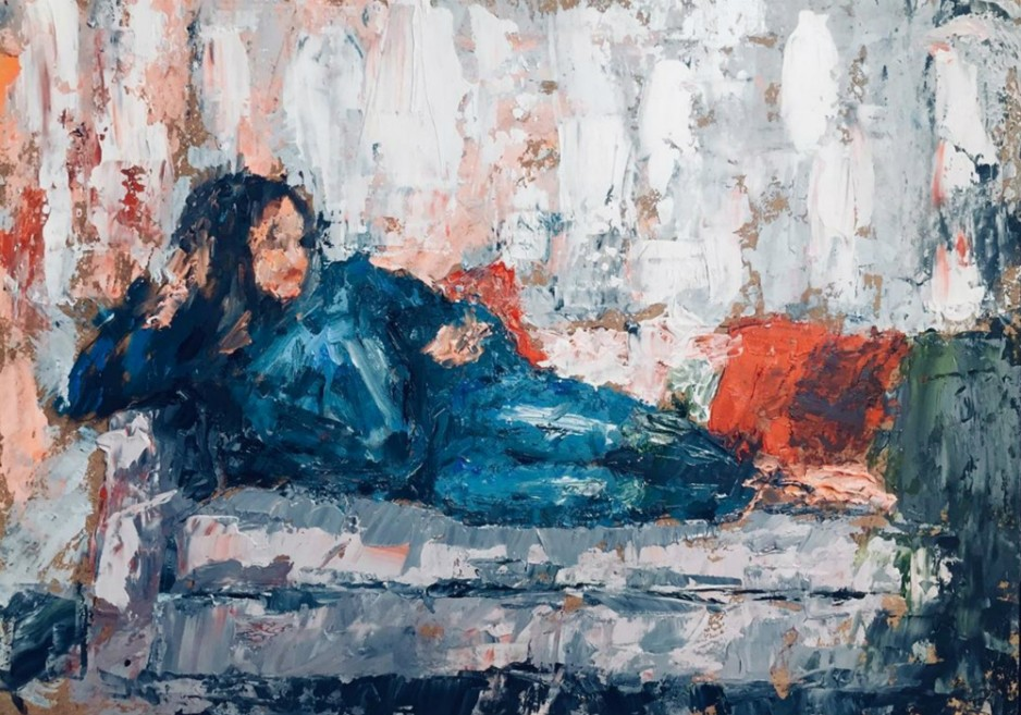 A painting of a woman relaxing on a sofa.