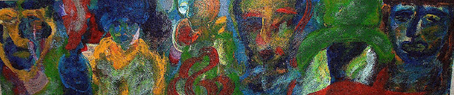 An abstract painting of several obscure figures.