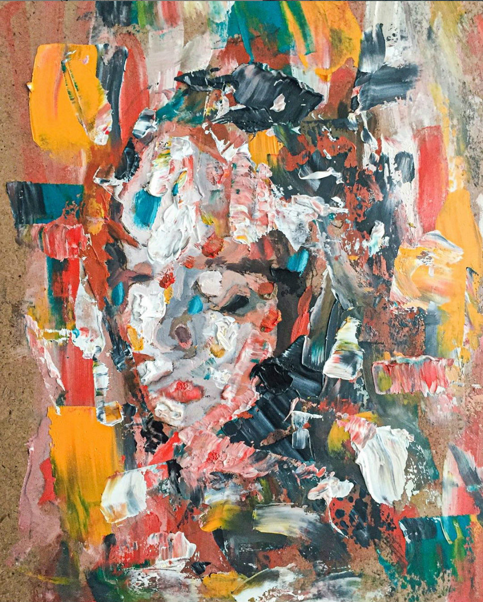 An abstract painting of an contemplative woman's face.