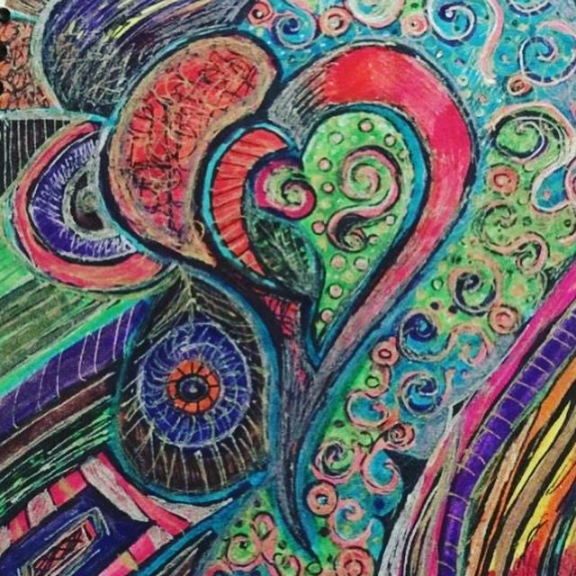 A colorful but not bright drawing of a multilayered heart.