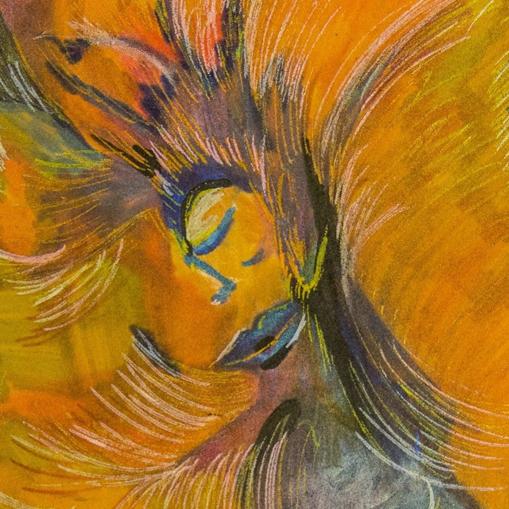 A bright, abstract painting of a peacful person's upper body with warm yellow and orange hues swirling in the background.