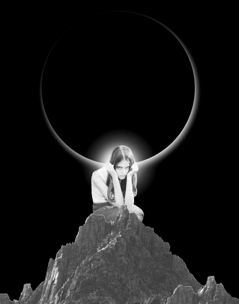 A collage of a woman atop a rock holding her head, distressed a bit, with a solar eclipse behind her.