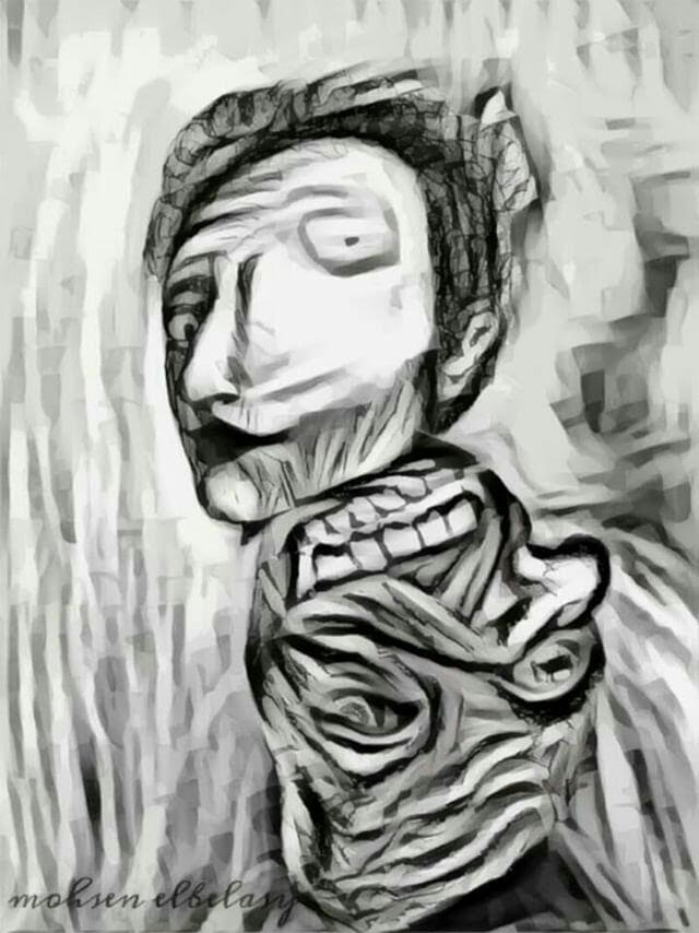 A drawing of a man with a distorted face, reflected as a demon's.