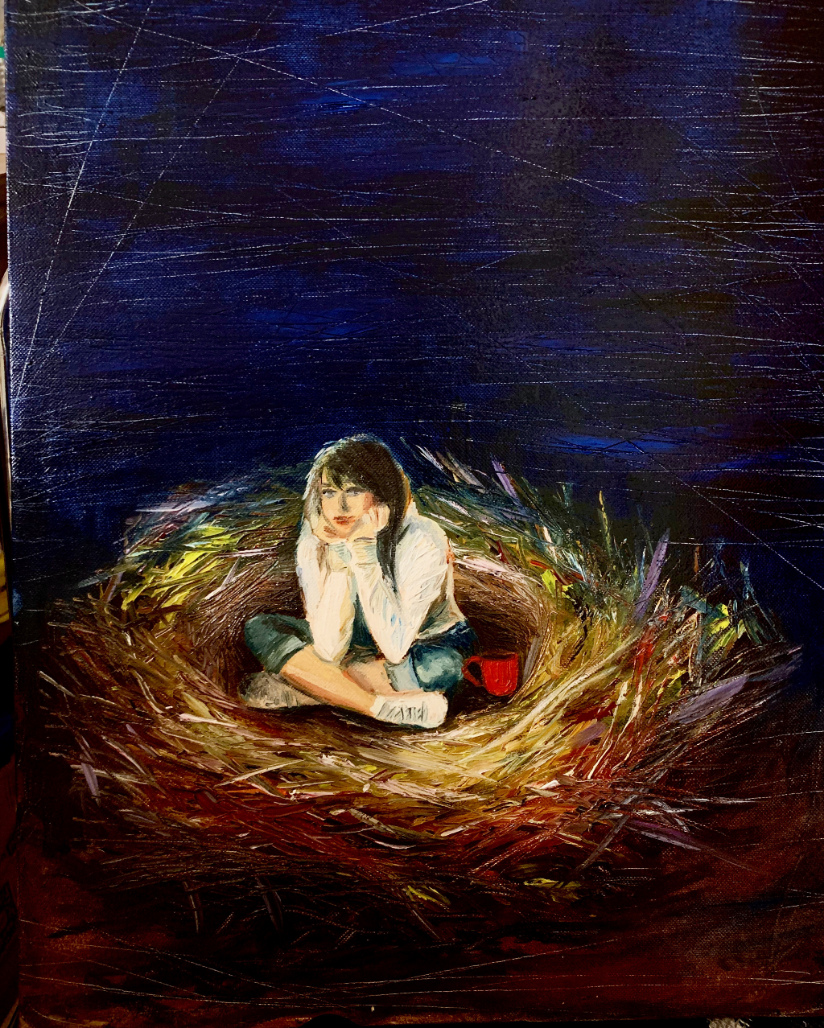 A girl looking a bit sad sitting alone in a bird's nest.