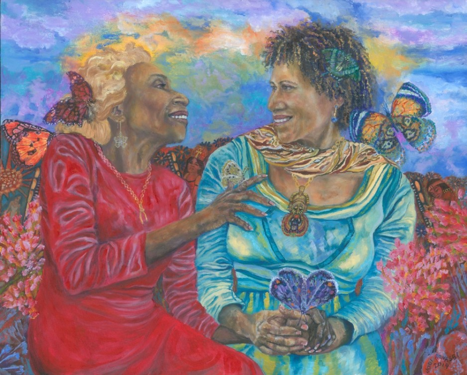 A painting of two woman laughing, looking at each other.