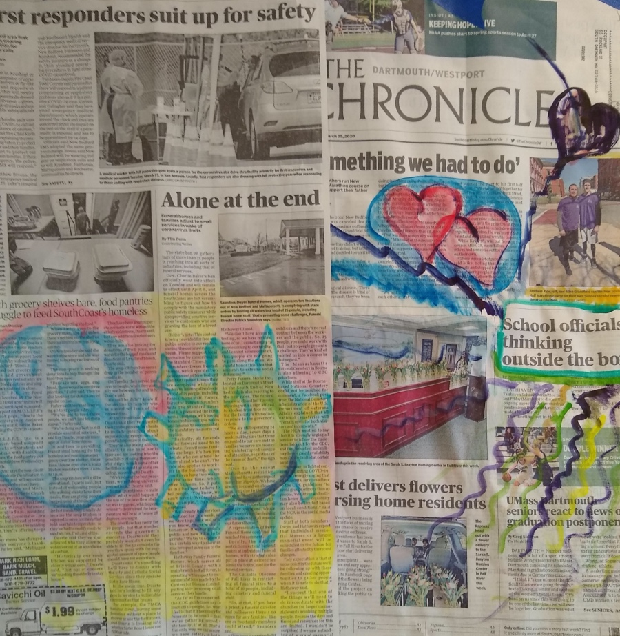 A collage using clippings from The Guardian with doodles drawn atop resembling human organis: the brain, heart, etc.