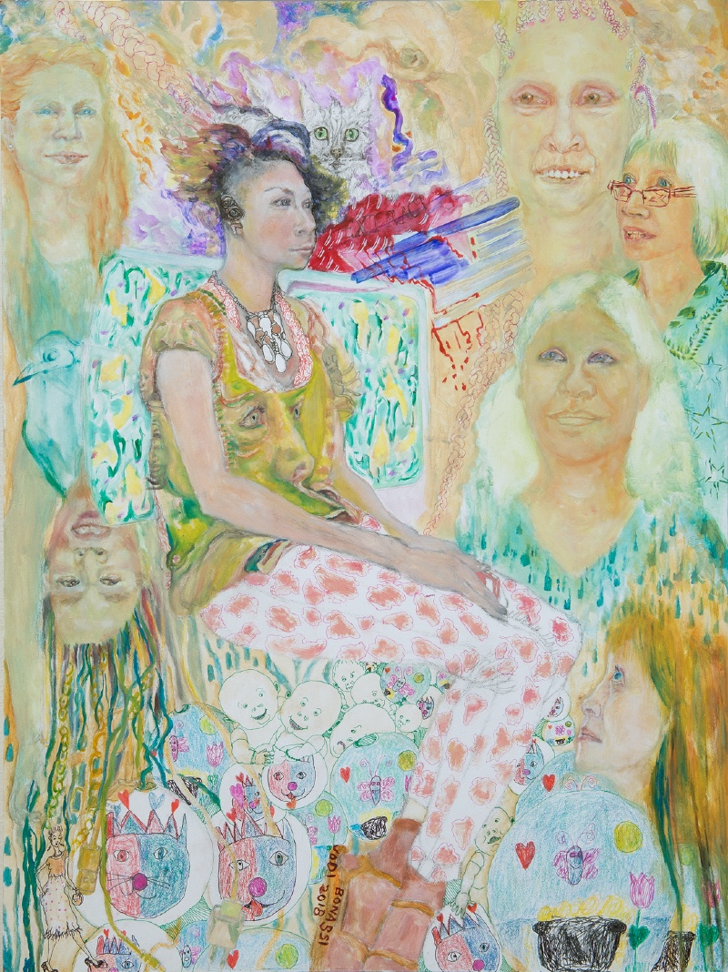 A painting featuring older women of varying ages.