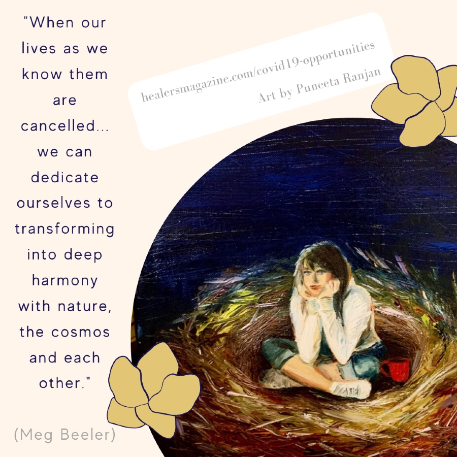 """Meg Beeler Meme: """"When our lives as we know them are cancelled...we can dedicate ourselves to transforming..."""""""