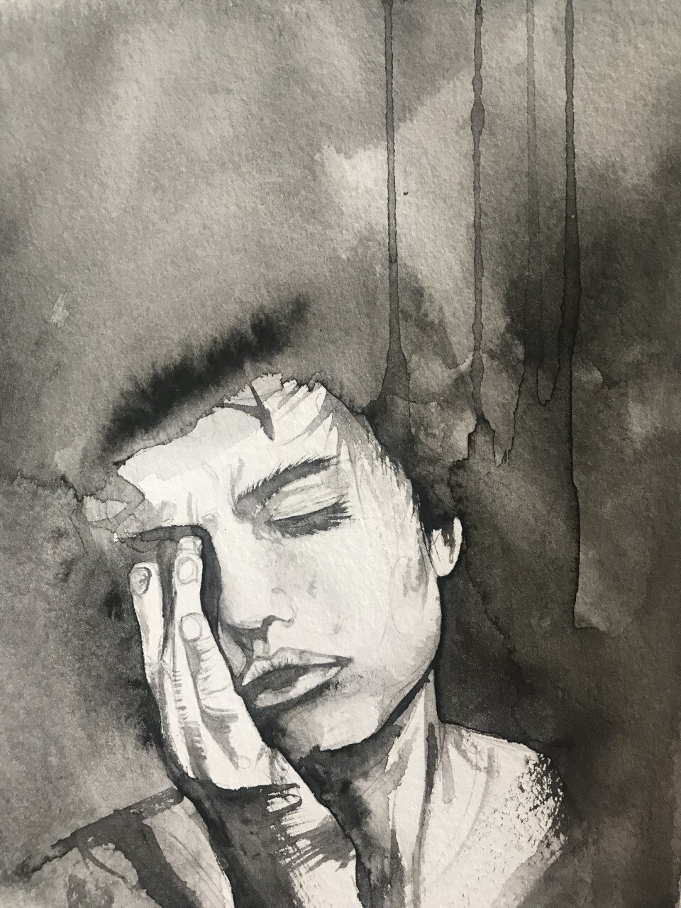 A black and white painting of a despondant young woman.