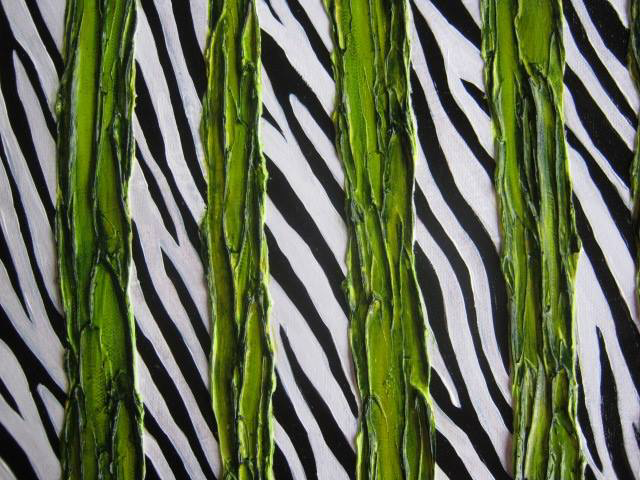 Four green lines - large, generous, strokes - painted atop a zebra pattern.