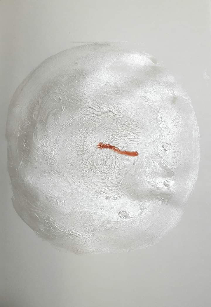 A painting of what appears to be a white cell with a strand of red DNA within.