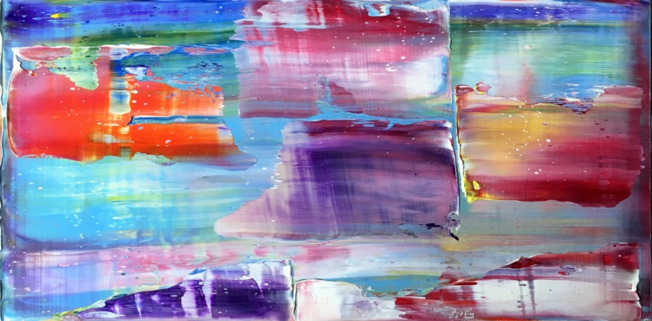 A bright. abstract painting with genergous, very wide strokes.