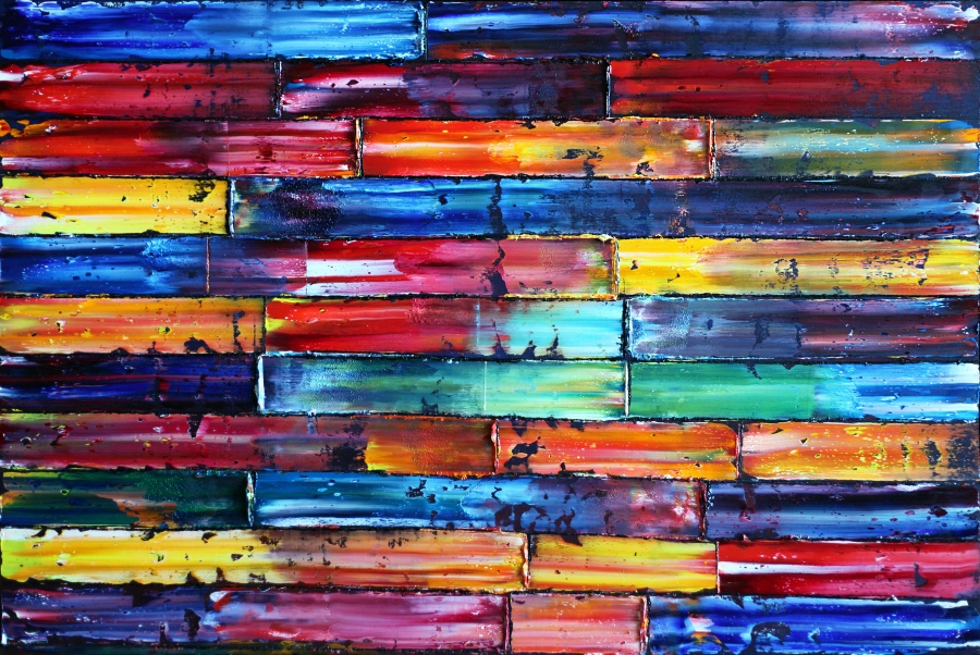 An abstract painting of with horizontal panels of varying colors and shading.