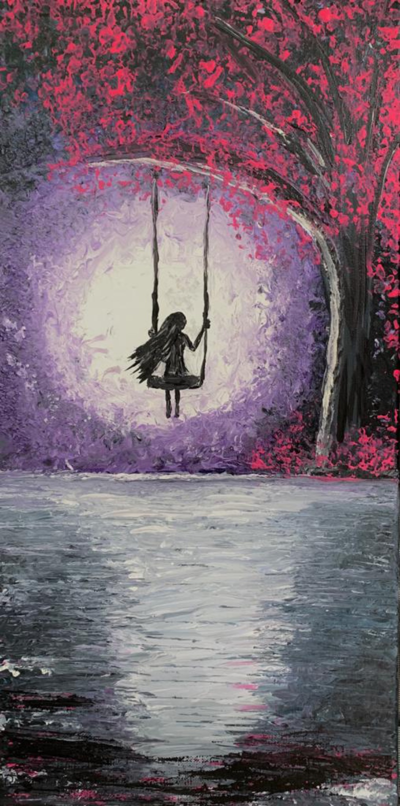 A painting of a solitary girls on a swing facing the moon, with her back to us.