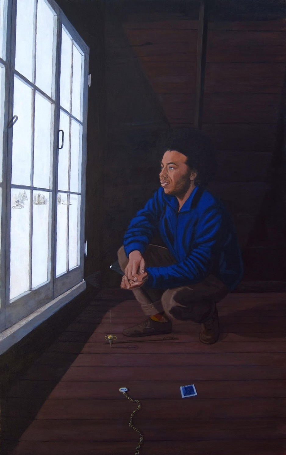 A painting of a young black man with a pocket watch looking out the window crouched down.