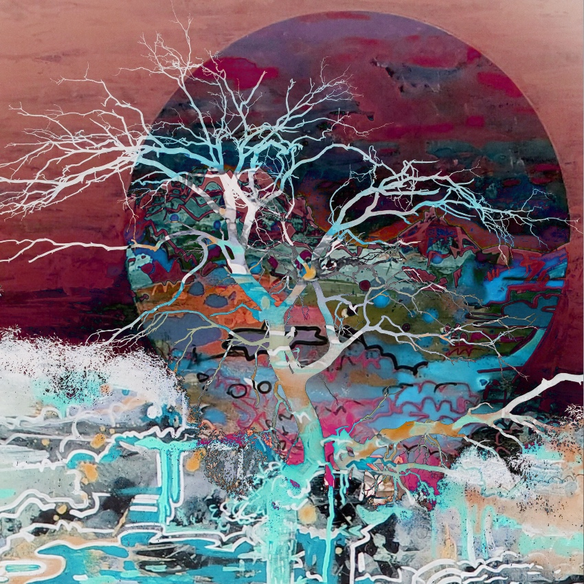 A painting of a tree in front of horizon, sunset.