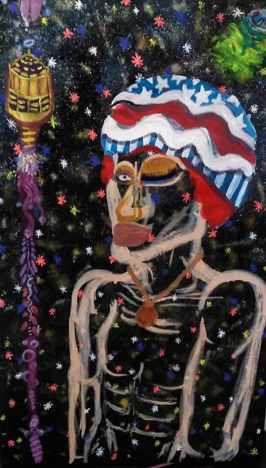 A painting of a shirtless Black man with an American flag hat looking unhappy.