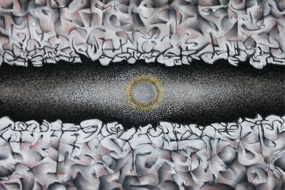 An abstract mixed-media piece with a dark chasm horizontally and a golden sphere in the middle.