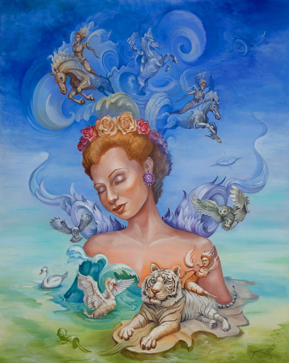 A painting of a woman with various animals surrounding her.